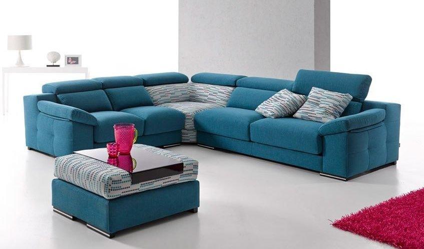 Bonito sofá de 7 plazas en tonos azules