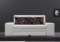 Sofá cama de cuero desplegable grande