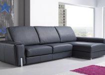 Sofá grande tapizado en cuero